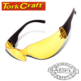 SAFETY EYEWEAR GLASSES YELLOW IN POLY BAG