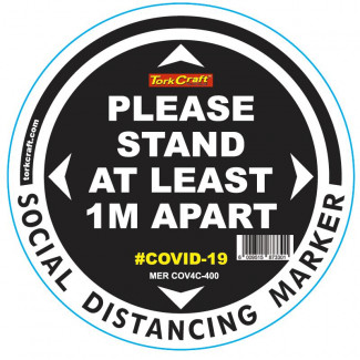 BLACK 1M APART - 400MM ROUND SOCIAL DISTANCING GRAPHIC