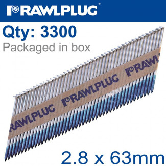 PAPER COLLATED NAILS 2.8X63MM RING 3300 PER BOX WITH X3 FUEL CELLS