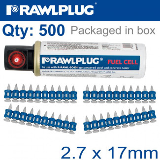 PINS FOR CONCRETE 2.7MMX17MM X500 PER BOX + 1 FUEL CELL