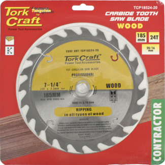 BLADE CONTRACTOR 185 X 24T 20-16MM CIRCULAR SAW TCT